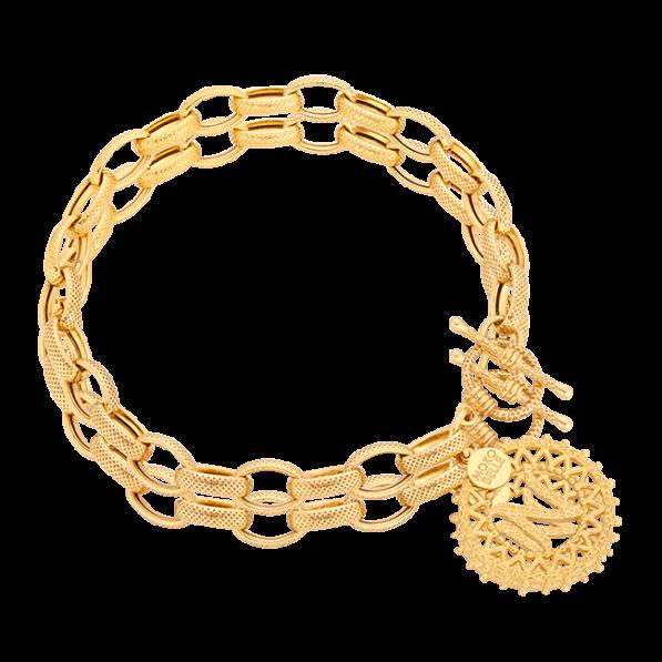 Bransoletka łańcuch z rozetką z literką i ozdobnym zapięciem