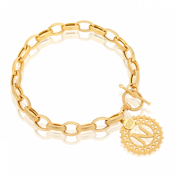 Chain bracelet with a letter rosette and decorative clasp