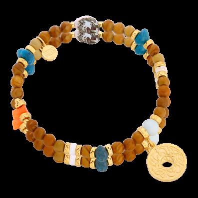 Natural stone bracelet with a rosette Mokobelle