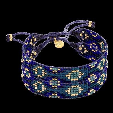 Malachite-blue beaded bracelet