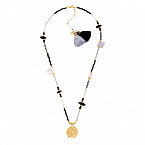 Hematite and pearl necklace with medallion Mokobelle