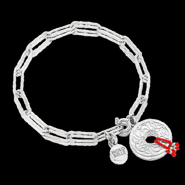 Srebrna bransoletka łańcuch z rozetką Mokobelle i czerwoną nitką