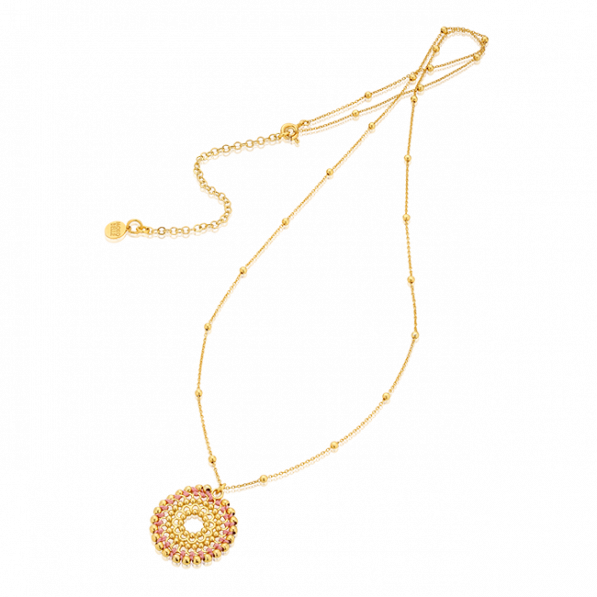 Chain with gold-plated beads with Bianca rosette